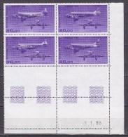 N° 59 Poste Aérienne Trimoteur Wibault 283: Bloc De 4 Timbres Coins Datés 3.1.86 Neuf Superbe - Aéreo