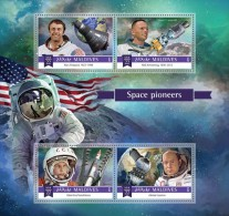 MALDIVES 2015 - Space: Shepard, Armstrong, Tereshkova, Leonov, Aldrin. Official Issue - Space