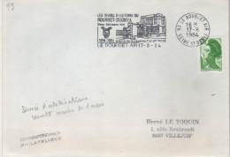 """Lettre Armées Flamme =o 93 Le Bourget Air 17-8 1984 """" Les 70 Ans D'Histoire Du Bourget-DUGNY Base Aérienne 104.... - Militärstempel Ab 1900 (ausser Kriegszeiten)"""