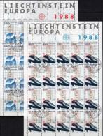 Kommunikation CEPT 1988 Liechtenstein 937/8 In 2xKB O 40€ Europa Teleskop Schwebebahn Blocs Hb M/s Train Sheetlets Bf FL - Blocks & Sheetlets & Panes