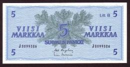 Billet - FINLANDE - 5 Markkaa - De 1963 - Litt. B  Pick 106A - Finland