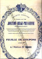 Action SA Jonction Belge Prusse 1933 WELKENRAEDT, BLEYBERG  Vieille Montagne,  Chemin De Fer, 2 Coupons Att (YEZ Ca 231) - Railway & Tramway