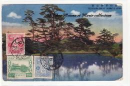 1931 - JAPON BELGIQUE - N° 112 114 MEIIJTOMB - VIA SIBERIE - RITSURIN PARK AT TAKAMATSU - SUR CPA - 1926-89 Empereur Hirohito (Ere Showa)