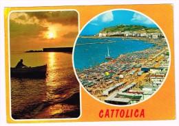 M3237 Cattolica (Rimini) - Panorama - Vedute - Multipla - Tramonto Sunset Coucher / Viaggiata - Italie