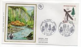 """1985--enveloppe 1er Jour - FDC """"Soie"""" -arbre-L'épicéa--cachet  ORLEANS--45 - FDC"""