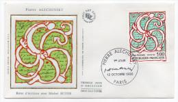 """1985--enveloppe 1er Jour - FDC """"Soie"""" -P.Alechinsky-""""Roue D'écriture Avec M.Butor --cachet  PARIS--75 - FDC"""