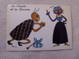BELLE ILLUSTRATION...LA CIGALE ET LA FOURMI....ILLUSTRATEUR A IDENTIFIER. - Contes, Fables & Légendes