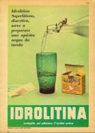# ACQUA IDROLITINA 1950s Advert Pubblicità Publicitè Reklame Food Drink Mineral Water Eau Agua Wasser - Manifesti