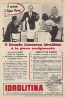 # ACQUA IDROLITINA SIGNOR PIETRO 1950s Advert Pubblicità Publicitè Reklame Food Drink Mineral Water Eau Agua Wasser - Posters