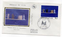 """1985--enveloppe 1er Jour - FDC """"Soie"""" --NICOLAS DE STAEL--Nature Morte Au Chandelier --cachet  ANTIBES--06 - FDC"""