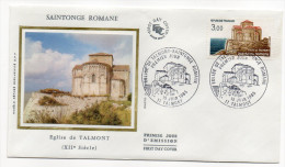 """1985--enveloppe 1er Jour - FDC """"Soie"""" --Saintonge Romane--église De TALMONT --cachet  TALMONT--17 - FDC"""