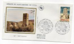 """1985--enveloppe 1er Jour - FDC """"Soie"""" --Abbaye De St MICHEL DE CUXA --cachet  CODALET--66 - FDC"""