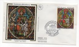 """1985--enveloppe 1er Jour - FDC """"Soie"""" --Cathédrale De Strasbourg--Vitrail""""Jugement De Salomon"""" --cachet  STRASBOURG--67 - FDC"""