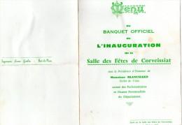 MENU INAUGURATION SALLE DES FETES DE CORVEISSIAT (AIN) 25 Juin 1961 - Menus