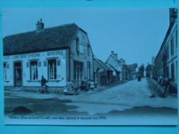 V 08-28-eure Et Loir-villebon-le Cafe Coin Tabac Epicerie Et Mercerie Vers 1910--reproduction--animee - Autres Communes
