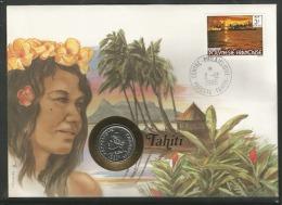 DH0701. TAHITI, ENVELOPPE AVEC MONNAIES , POID 19 GRAMMES, PRIX FIXE. - Tahiti