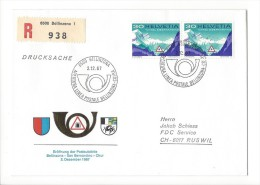 12735 - Lettre Eröffnug Des Postautolinie Bellinzona-San Bernardino-Chur Recommandé  02.12.1967 Pour Ruswil - Suisse