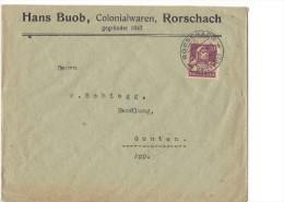 12746 - Lettre  Cover Hans Buob Colonialwaren Rorschach 24.10.1921 Pour Grenchen - Suisse