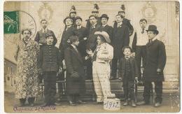 Fos Haute Garonne Carte Photo Groupe Theatre 1912 Clown Chapeau De Paille Cuirassier Dragon - Otros Municipios