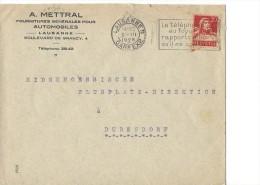 12749 - Lettre/Cover A. Mettrel Automobiles Lausanne 1928 Pour Dubendorf - Suisse