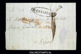 Italia:  Letter Catania  To Napoli  1841? Very Nice Cancels - Italia
