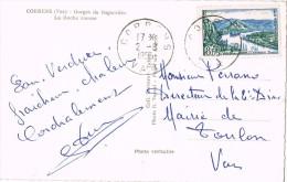 14032. Postal CORRENS (Var) 1955. Gorges De Bagaredes. La Roche Rousse - Frankrijk