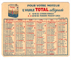 Calendrier HUILE TOTAL 1962 (PPP1165) - Petit Format : 1961-70