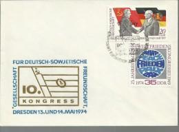 ALEMANIA DDR DREDEN CONGRESO AMISTAD URSS DDR BANDERA - Briefe