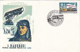 IAN NAGORSKI, POLAR PILOT, PLANE, POLAR BEAR, POLAR AVIATION DAY, SPECIAL COVER, 1984, ROMANIA - Polar Flights