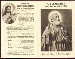 Calendrier Kalender 1934 Oeuvre De Saint Pierre - Calendriers