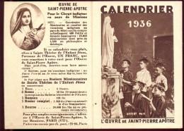 Calendrier Kalender 1936 Oeuvre De Saint Pierre - Calendriers