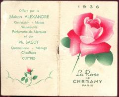 Calendrier Kalender 1936 - La Rose De Cheramy - Paris - Parfum - Calendriers