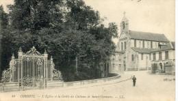 CPA 91  CORBEIL L EGLISE ET LA GRILLE DU CHATEAU DE SAINT GERMAIN 1909 - Corbeil Essonnes