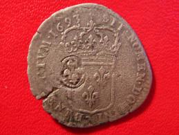 Quinzain 15 Deniers Contremarqué D'une Fleur De Lys Louis XIV 1693 D Lyon 4901 - 1643-1715 Louis XIV Le Grand