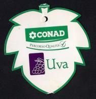 # UVA CONAD TABLE GRAPE Italy Fruit Tag Balise Etiqueta Anhänger Cartellino Uva Raisin Uvas Traube - Fruits & Vegetables