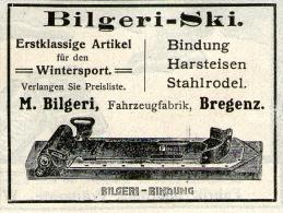 Original-Werbung/ Anzeige 1910 - BILGERI SKI-AUSRÜSTUNG / BILGERI - WERK BREGENZ - Ca. 65 X 50 Mm - Werbung