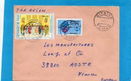 MARCOPHILIE-lettre-TCHAD--cad-BITKINE-1977-pour Françe-2  StampsN°316 Camp Du 13 Avril 1976+flower Kigelia - Tsjaad (1960-...)