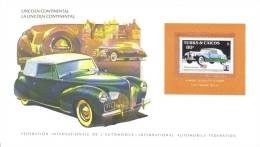 International Auto Federation Display Card With Mint Turks & Caicos Stamp - LINCOLN CONTINENTAL - Automobili