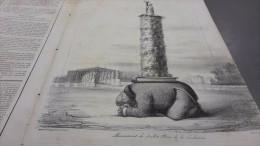 1834 MONUMENT DE JUILLET PLACE DE LA REVOLUTION Lithographie Benjamin ROUBAUD Paru Dans LE CHARIVARI - Journaux - Quotidiens