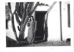 MAGNIFIQUE CACTUS DEVANT LA MAISON  JEUNE FEMME  ANNEE 1940 ENVIRON    6x8,5cm - Fotos