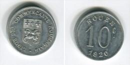 [A647] Monnaie De Nécessité : Rouen : 10 Centimes 1920 Aluminium - Monetari / Di Necessità