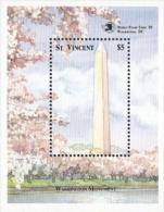 St Vincent,  Scott 2015 # 1266,  Issued 1989,  S/S Of 1,  MNH,  Cat $ 4.25, Washington Monument - St.Vincent (1979-...)