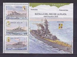 WWII BATTLE OF RIVER PLATE GRAFF SPEE SHIP WARSHIP BOAT URUGUAY Sc#2284 MNH - Uruguay