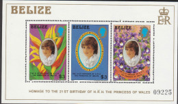 BELIZE, 1982 DIANAS B/DAY MINISHEET MNH - Belize (1973-...)