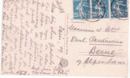 1926- C P A De Paris  Affr. Bande De 3  25 C Semeuse Oblit. De BERN ( Suisse ) - Marcophilie (Lettres)