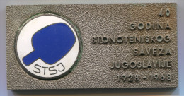 Table Tennis, Tenis Di Tavolo Ping Pong - STSJ Association YUGOSLAVIA, Enamel Plaque 85 X 45 Mm, BERTONI Milano - Table Tennis