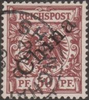 Chine Allemande 1898 Michel 6 I, Oblitéré Shanghai. Cote 22 €. Aigle, Surchargé (45°) - Bureau: Chine