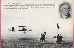 Henry Farman Portrait Biplan Voisin Premier Voyage Bouy Reims - Aviateurs