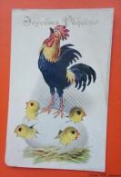 CPA -  Joyeuses Pâques  - Coq, Poussins Sortant D´un œuf -- .COMIQUE Series N°3825 Inter Art Co,Florence House,Barnes, - Pâques