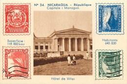 NICARAGUA - Vue & Timbres Symboles Du NICARAGUA - ** Hôtel De Ville MANAGUA ** Mini Carte (6 X9 Cm) - Carte En TB état. - Nicaragua